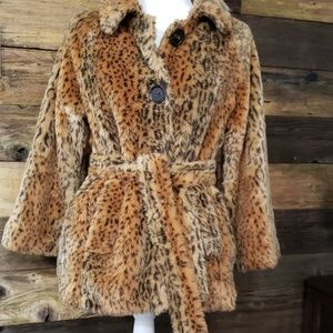 Boston Proper Leopard Print Faux Fur Coat